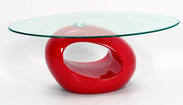 Genevey Mink Grey Glass Gloss Modern Contemporary Coffee Table - Red