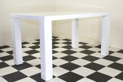 Sheraton Large Table White High Gloss Rectangular Kitchen Dining Table With Chunky Legs