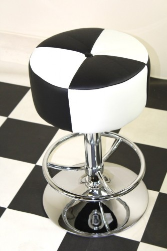Morani American Diner Retro Style Kitchen Bar Stool Black And White Padded Seat