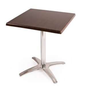 Pinko Square Dark Brown Outdoor Table Top And Base Chrome Frame