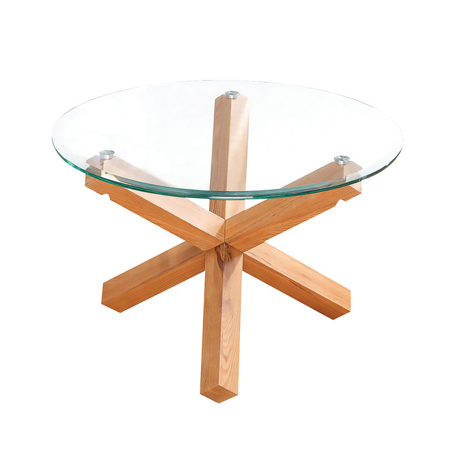 Troil Clear Glass Modern Stylish Coffee Table With Wood Criss Cross Legs