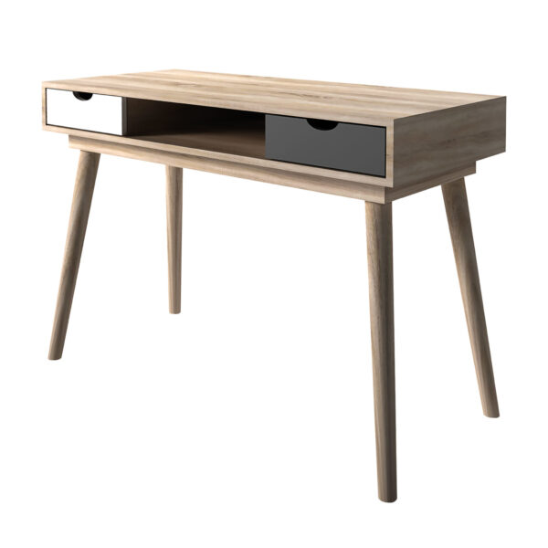 Secily Desk Oak With Grey And White Drawers