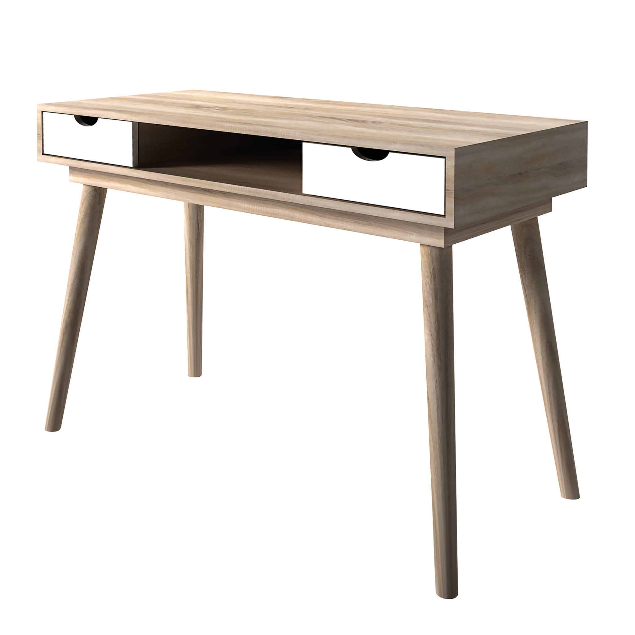 Secily Desk Oak With White Drawers