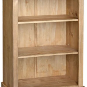 Sabino Antique Waxed Pine 3 Shelf Low Bookcase