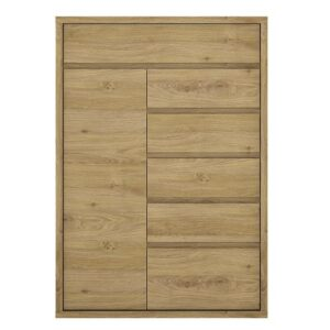 Tiamaria Oak Glazed Wood Storage Cupboard - 1 Door 6 Drawer