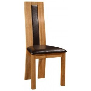 Shari High Back Kitchen Dining Chair Solid Oak Frame Pvc Padded Seat
