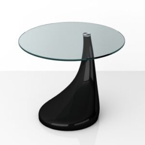 Sia Side Table - Mdf Gloss Black And Glass