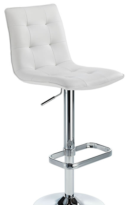 Scapon White Bar Stool Button Hole Seat Height Adjustable