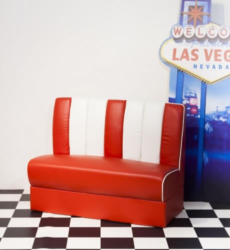 Chicago Retro 50'S Style Booth Chair Bench Seating Red And White Padded Seat And Back