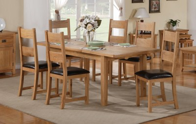 Starry Oak Table And 6 Padded Chairs