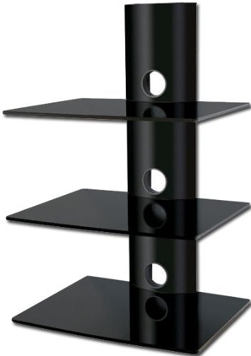 Alcone Floating 3 Black Glass Shelf Wall Mount For Audio Video DVD Hi Fi Equipment