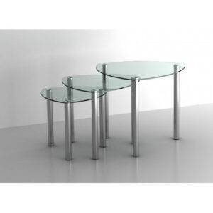 Pathon Clear Or Black Glass Nesting End Side Coffee Tables