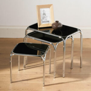 Siponosy Nest Of 3 Black Glass Rectangular Side End Coffee Tables