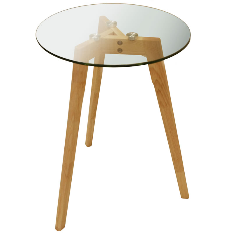 Lapos Retro Solid Wood Tripod Leg And Round Glass Coffee Table Natural
