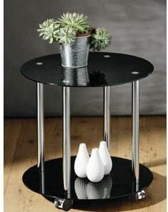 Zipos Black Glass Round 2 Tier Coffee Side End Table