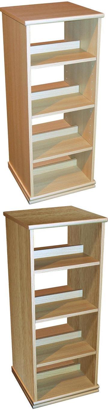 4 Tier Rotating Media Storage - Oak