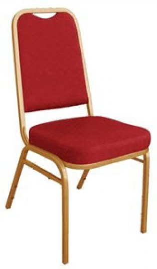 Brelone Set Of 4 Rounded Banqueting Chairs Red Padded Seat Gold Frame