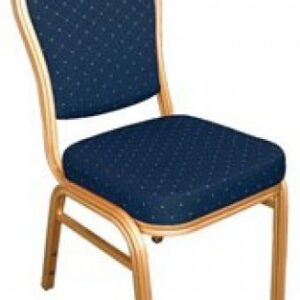 Brelone Set Of 4 Rounded Banqueting Chairs Blue Padded Seat Gold Frame