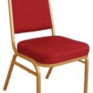 Brelone Set Of 4 Squared Banquet Chairs Red Padded Seat Gold Frame