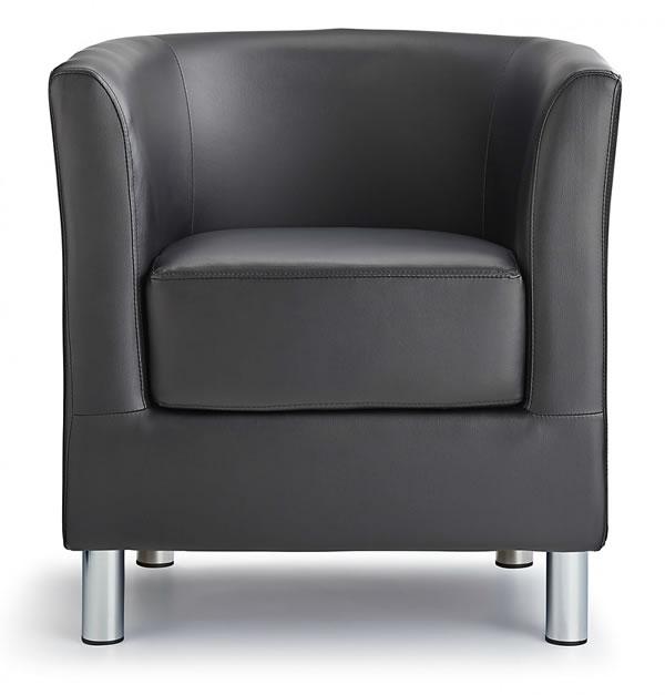 Sagony Designer Modern Tub Chair Black Padded Seat Chrome Legs