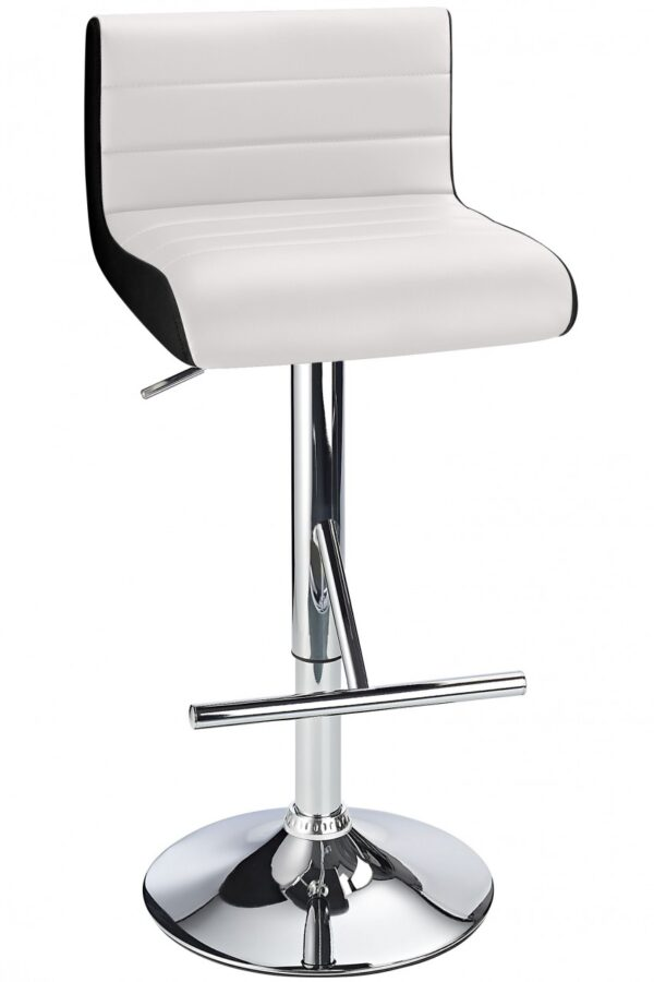 Terfa Breakfast Bar Stool - White Seat And Contrasting Side Panels