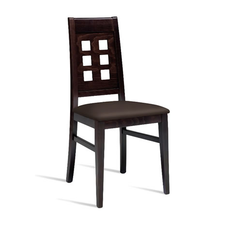 Tulip Wenge Solid Beech Dining Chair With Padded Brown Faux Leather Seat - Fully Assembled
