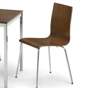Trinidad Walnut Chrome Kitchen Dining Chair