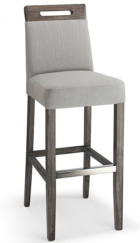 Modosi Grey Pvc Seat Bar Stool Wooden Frame Fully Assembled