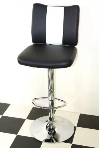 Bostony Retro Style Bar Stool American Diner Style Black Padded Seat Height Adjustable