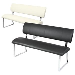 Diner Padded Chrome Bench With Backrest