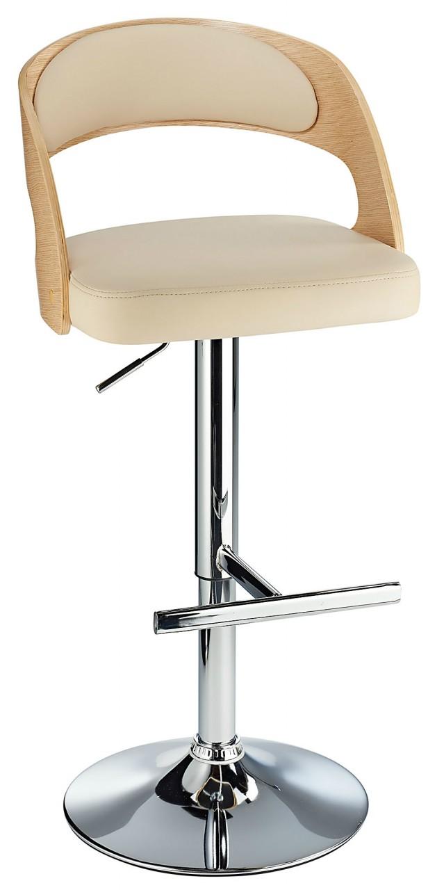Balkony Oak Kitchen Breakfast Bar Stool Cream Padded Seat Height Adjustable