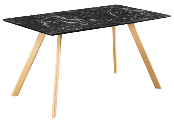 Vasey Black Dining Table Marble Effect