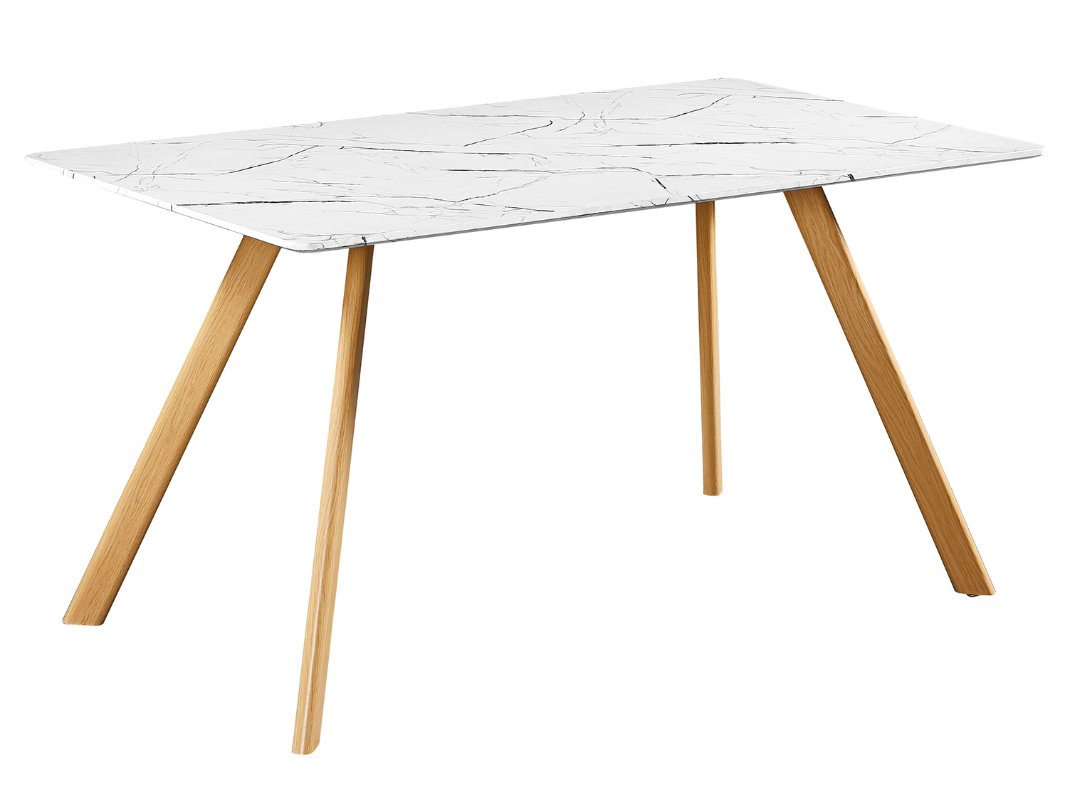 Vasey White Dining Table Marble Effect