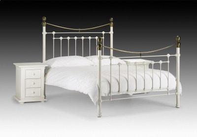 """Vincent Bed 4'6"""" And 5 Stone White & Brass"""
