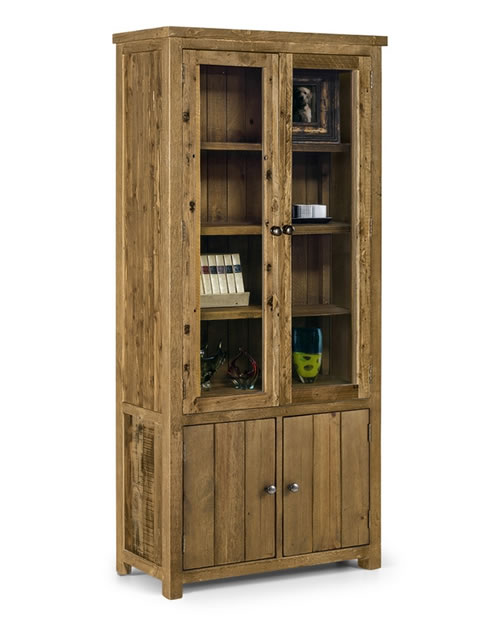 Asoney Glazed Display Cabinet Rough Sawn Solid Pine Fully Assembled