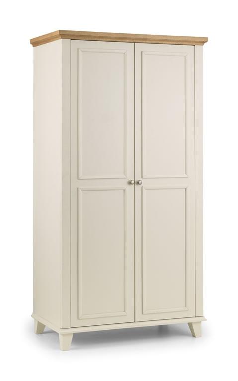 Charlsone Large 2 Door Wardrobe Stone White Lacquered Finish Light Oak Top