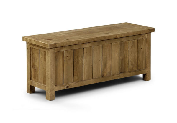 Asoney Storage Bench Rough Sawn Solid Pine Fully Assembled