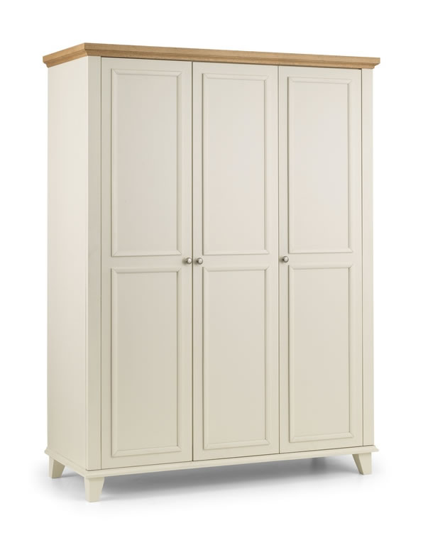 Charlsone Large 3 Door Wardrobe Stone White Lacquered Finish Light Oak Top Fitted Interior