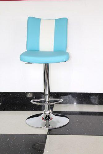 Bostony Retro Style Kitchen Breakfast Bar Stool American Diner Style Blue Padded Seat Height Adjustable