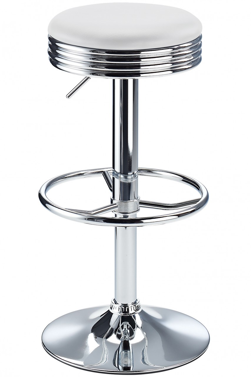 Calif American Diner Style Retro Kitchen Adjustable Bar Stool In White