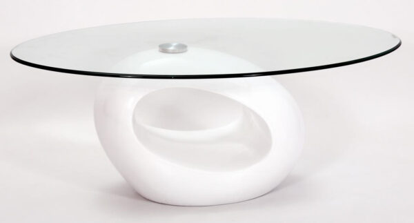 Genevey Mink Grey Glass Gloss Modern Contemporary Coffee Table - White