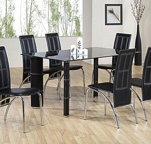 Bossu Large Black Glass Rectangle Table Set With 6 Chairs