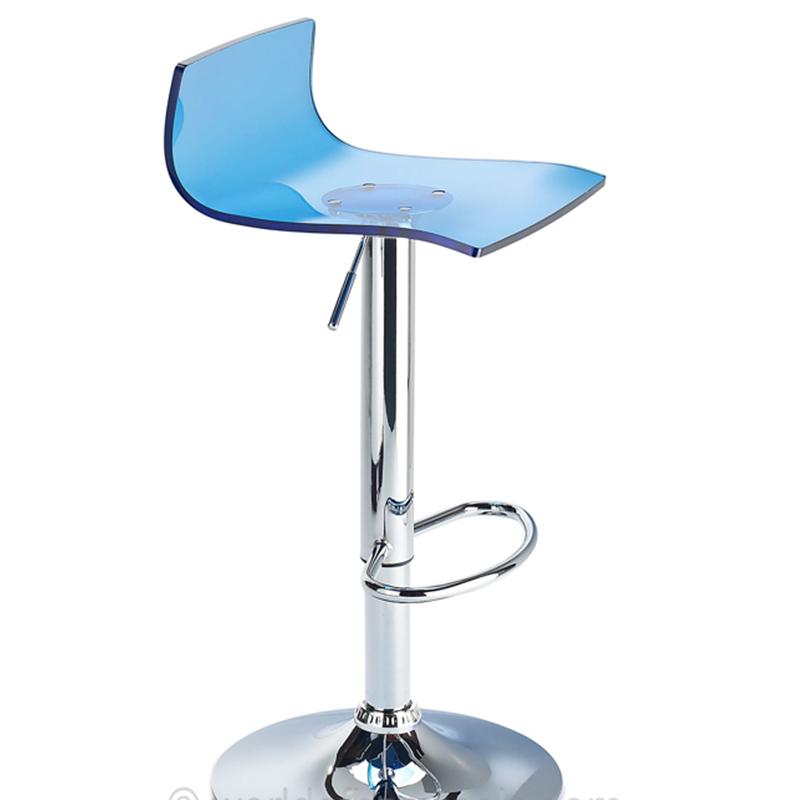 Wye Transparent Acrylic Adjustable Breakfast Bar Stool - Blue