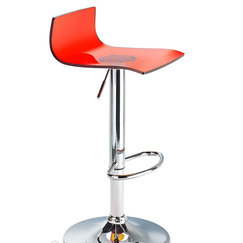 Wye Transparent Acrylic Adjustable Breakfast Bar Stool - Red