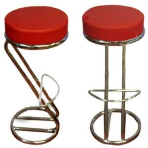 Z Shaped Red Padded Seat Kitchen Breakfast Bar Stool Chrome Frame - White